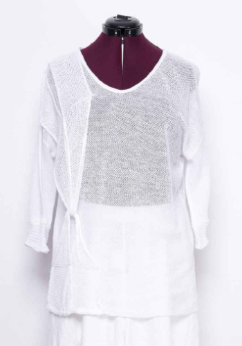 Summer linen knitted top with original details